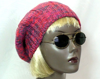 Raspberry Tam - Hand Knit Slouchy Beanie, Knit Tam, Pink Marled Watchcap, Man's or Woman's Hat, Handmade in the USA, Ready to Ship
