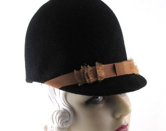 Womens Hat Black Cashmere Riding Handmade Hat Handmade Hat Wedding Hat Church Cloche Derby Ascot Races Art Deco Custom Made for Each Client