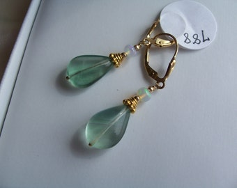 Fluorite 15mm with Ethiopian opal leverback earrings 14k gold filled vermeil ornament gemstone handmade MLMR item 788