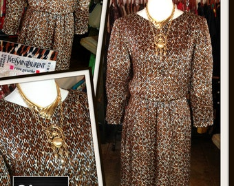 Vintage Yves Saint Laurent Rive Gauche YSL Leopard Print Dress FREE SHIPPING