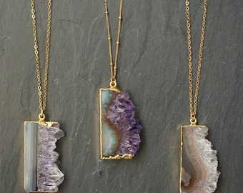 Amethyst Necklace // Amethyst Stalactite // Amethyst Pendant  // Amethyst Slice // Amethyst Druzy // Gold Amethyst // February Birthstone