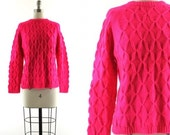 1960s neon pink sweater / GOGO Evan Picone sweater / vintage pink wool sweater S/M