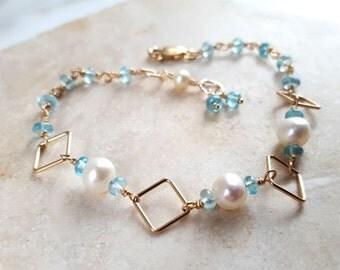 Modern Geometric Multi Gemstone Stacking Bracelet White Pearl, Blue Apatite and 14K GF Layering Chain Handmade Fine Jewelry Life Bijou