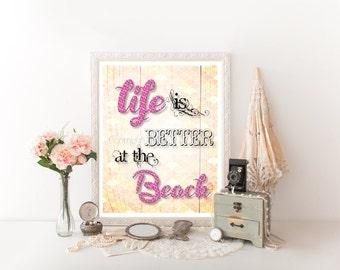 Beach, Beach Printable, Beach Digital Download, Beach Decor, Beach Quote, Beach Digital Print, Beach, Beach Sign, Beach House Art 0170
