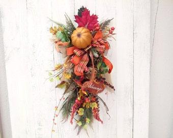 Fall door wreaths, Fall door swag, Fall decor, Harvest wreath, Pumpkin wreath, Blessings, Thanksgiving, Autumn wreath, Wreaths for Fall