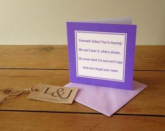 Leaving Card - Funny Leaving Card - New Job Card - Good Luck Card -  Leaving Gift - Rude Leaving Card - Leaving - Funny Card - Humour Card