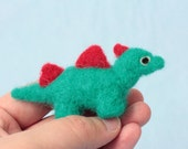 Felt dinosaur desk accessory - Dinosaur gift - Cute desk buddy - Needle felted creature - Made in UK -  Gift for best friend