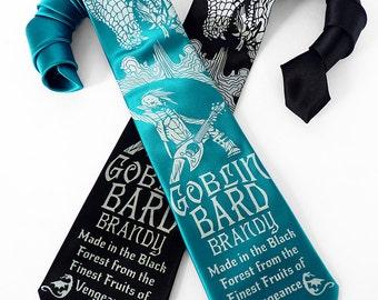 Dragon Necktie, Dice Tie - DnD, RPG, D20 Necktie, Gamer Geek Gifts - Goblin Bard Brandy Men's Necktie - Speculative Spirits