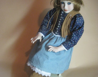 Savannah Porcelain Doll with Accessories by Connie Johnston for The Hamilton Collection Vintage