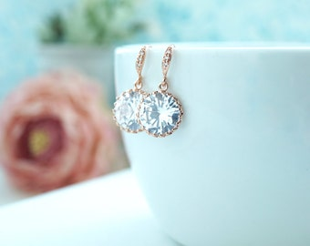 Rose Gold Cubic Zirconia Earrings.  Bridal Wedding Earrings. Round Cubic Zirconia White Crystal Earrings. Maid of Honor. Bridesmaids Gifts