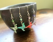 Tiny Origami Velociraptor Earrings - Crystal Beads and Sterling Silver