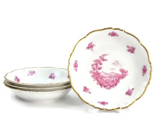 Pink Toile Set of Bowls - Coupe Soup Bowls, SETs of 4, Romantic Style Decor, Chinoiserie Toile, Edelstein Bavaria, Vintage China, c1940s