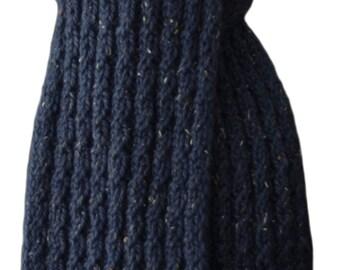 Hand Knit Scarf - Blue Tweed Cable Rib Alpaca