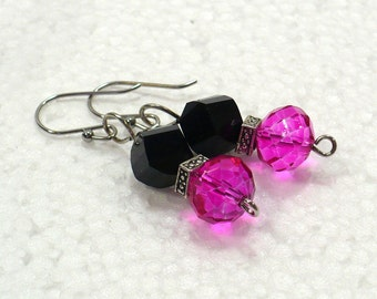Hot Pink & Black Dangle Earrings - Sparkly Pink Drop Earrings on Nickle-Free Silver Plated Earwires, Handmade in the USA