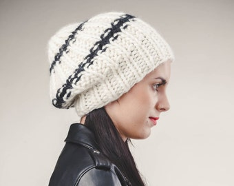 Chunky Knit  Hat,  Handknitted Wool Hat, Giant Beanie, Slouchy Beanie, Women Beanie, black and white beanie, Slouchy Hat, Chunky Knitwear