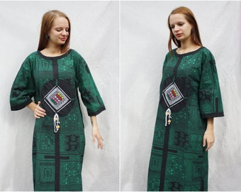 Maxi long dress Kaftan Green black dress Full length Hippie boho bohemian Long sleeves Casual dress Mandala dress Cotton Vintage Size M