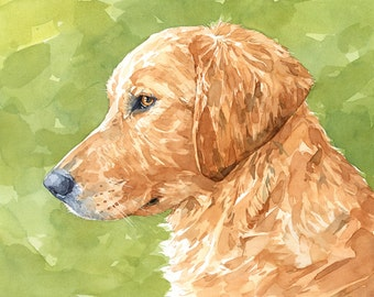 Golden Retriever Watercolor 11x14 Limited Edition Print, yellow labrador dog print