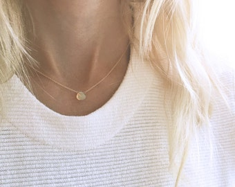 Opal Necklace, White Opal, Gold Opal Necklace, October Birthstone, Simple Gemstone Necklace, 14k Gold Filled, Dainty Necklace