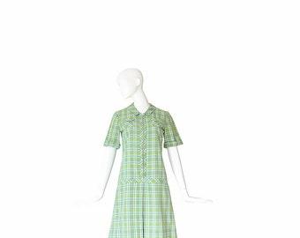 60s Scooter Dress • 1960s Plaid Dress • Green • M / Medium