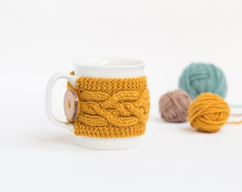 Cup Cozy in color Mustard, Knitted Mug Cozy, Coffee Cozy, Tea Cup Cozy, Handmade Wooden Button, Coffee Cozy Sleeve, Warmer, Fall, Gift