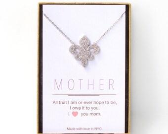 Fleur de Lis Necklace, Fleur de Lis Jewelry, Pendant Necklace, Pave Pendant, Sterling Silver Crystal Necklace,  Personalized Jewelry N301S