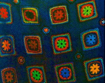 Granny Square Afghan Vintage Crochet Pattern Instant Download