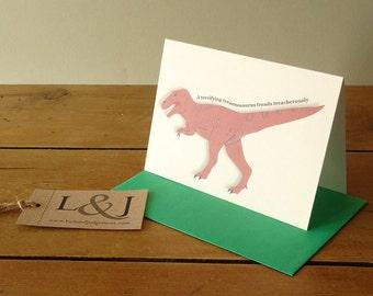 T Rex, Dinosaur Card, Illustrated Dinosaur, Dino Cards, Tyrannosaurus, Trex, Tyrannosaurus Rex, Luck And Judgement, Greeting Card Shop