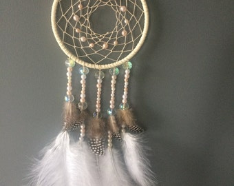 Dreamcatcher - Ivory And Pink Pearl Dreamcatcher