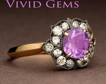 Purple Amethyst Ring, Flower Engagement Ring in 14k Yellow Gold