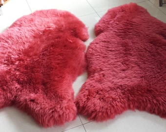 Red extra large sheepskin rug