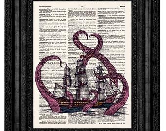 Kraken Octopus Print, Octopus Attacking, Pirate Ship, Octopus Art, Giant Octopus, Nautical Decor, Ocean Art,Bathroom Decor,Octopus Print,217