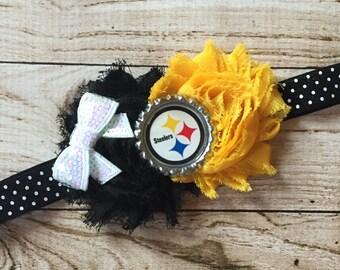 Pittsburgh Steelers Shabby Headband- Black Polka Dot