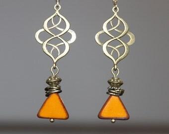 Goldenrod Earrings Dangle Earrings Drop Earrings Czech Earrings Brass Earrings Czech Glass Earrings Christmas Gift For her Gift for Women