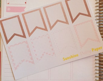 Rose Gold and Pink Collection Erin Condren full box flags planner stickers!