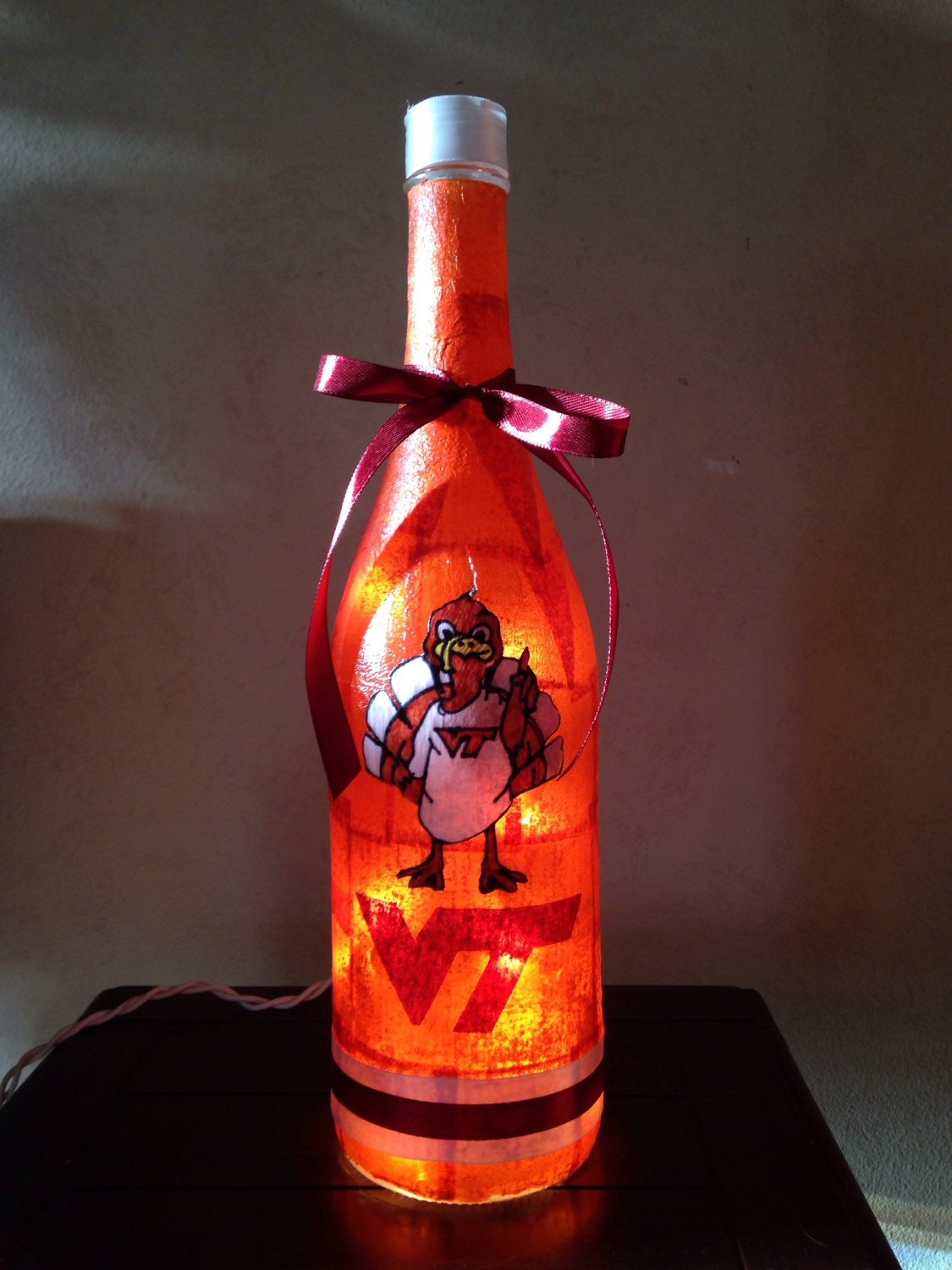 Virginia Tech Hokies Wine Bottle Lamp Vt Fan By