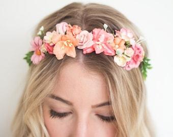 DIY Flower Crown Kit- Coral Wedding Headpiece- Gifts for Her- Coral Wedding DIY- Coral Headpiece