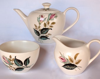J G Meakin Teaset 1960's Vintage Retro Sol Ware Night Club Design Teapot / Coffee Pot, Creamer & Sugar Bowl