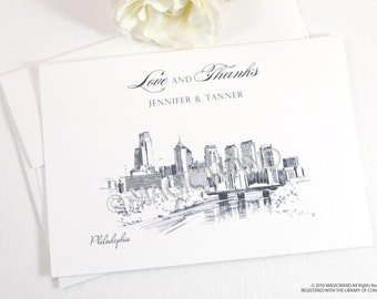 Philadelphia Skyline Wedding Thank You Cards, Personal Note Cards, Bridal Shower Thank you Cards (set of 25 cards)