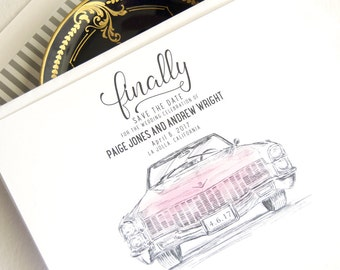Pink Cadillac Hand Drawn Save the Dates (set of 25 cards)