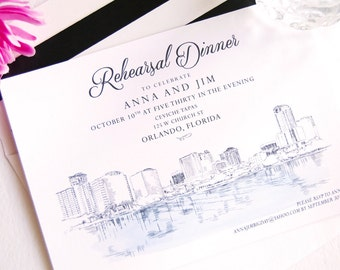 Orlando Skyline Rehearsal Dinner Invitation, Hand Drawn (set of 25 cards)