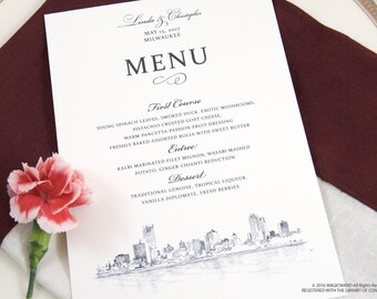 Milwaukee  Skyline Dinner Menus (Sold in sets of 25)