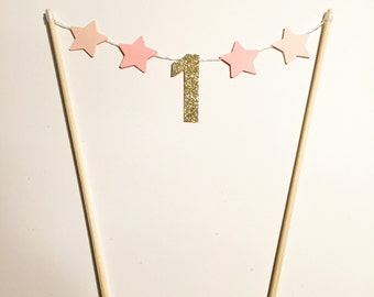 One stars cake topper pink and gold glitter - custom number available