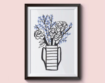Flower pot illustration. Blue and black illustration. A4 Print draw and paint