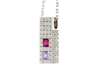 MAMA His & Hers, Couples Princess Birthstone Pendant w/ Accent CZs on 3 sides in Sterling Silver