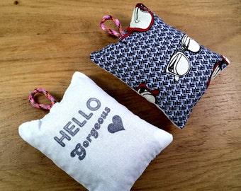 Hello Gorgeous - hand printed lavender bag (Retro Glasses pattern)