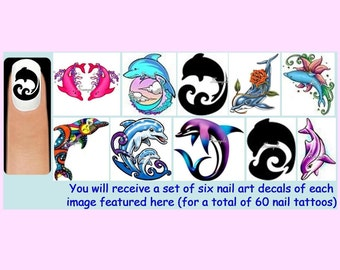 60 x DOLPHINS Nail Art Decals + Free Rhinestones Animals Dolphin Flowers Water Waves