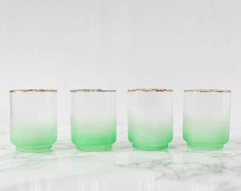 Set of Four Vintage Lowball Rocks Glasses by Blendo, 6 oz