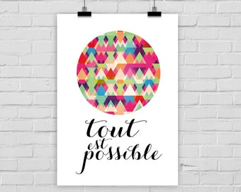 fine-art print poster EVERYTHING IS POSSIBLE french