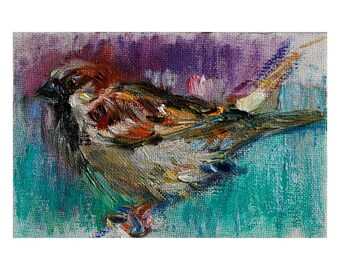 Fine Art Giclee Print - Little Sparrow Bird - Oil Painting on Canvas, Impressionist Art, Violet Turquoise Nature Animal Realism Wall Decor