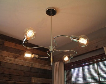 Industrial Styled with Modern Look Polished Nickel Chandelier with Globe Edison Bulbs